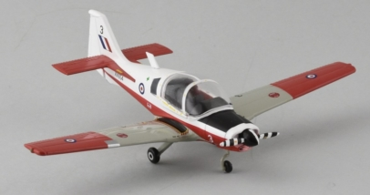 Front Starboard View Aviation72 AV72-25002 - 1/72 Scale Scottish Aviation Bulldog T1 Basic Trainer Diecast Model Aircraft of XX654, Royal Air Force Museum Cosford.
