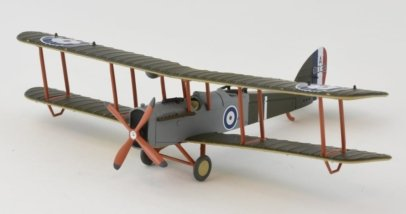 Front Port View Oxford Diecast AD002 - 1/72 Scale Airco DH4 Diecast Model Aircraft of 212 Squadron, RAF, Major Egbert Cadbury and Robert Leckie, August 1918.