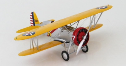 Front Starboard View Hobby Master HA7910 - 1/48 Scale Boeing P-12E/F4B-4 Diecast Model Aircraft of 'B' Flight Leader's aircraft, 308th Observation Sqn, 5th Corps Area, circa 1939.