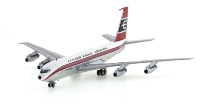 Front Port View Inflight200 IF70740814P – 1/200 Scale Boeing 707-420 Diecast Model Airliner. VR-BBW, Cunard Eagle Airways.
