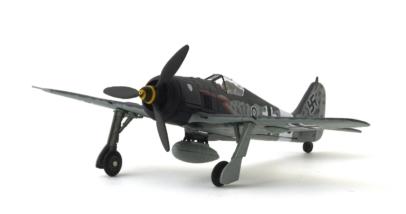 "Front port view Corgi AA34317 – 1/72 scale Focke-Wulf Fw 190A-8/R2 Sturmböcke diecast model ""Black 8"", Unteroffizier Willi Maximowitz, 11 Staffel (Sturm) IV/JG.3, Luftwaffe, June 1944."