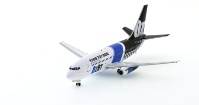 Front port view of Inflight200 IF732072018. - 1/200 scale diecast model of the Boeing 737-229 airliner, registration VH-OZU in the livery of OzJet.