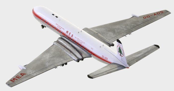 Rear view thumbnail of 1/200 scale diecast model of the DH 106 Comet 4C airliner, registration OD-ADS, Middle Eastern Airlines (MEA) - Inflight200 IFCOMET0717P.