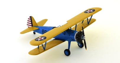Front port side view of Hobby Master HA8108 - 1/48 scale diecast model of the Boeing PT-17 Stearman, 4 BFTS (British Flight Training School)