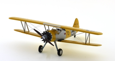 Front port side view of Hobby Master HA8109 - 1/48 scale diecast model of the Stearman (Boeing) N2S-3 US Navy