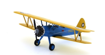 Front port side view of Hobby Master HA8110 - 1/48 scale diecast model of the Stearman (Boeing) PT-17