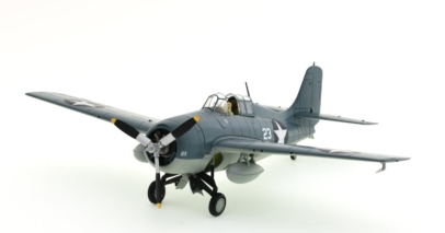 Front port side view of Hobby Master HA8902 is a 1/48 scale diecast model of the Grumman F4F-4 Wildcat, White 23, VF-3, US Navy, LCDR John Thach, USS Yorktown, Battle of Midway, 4-6 June 1942