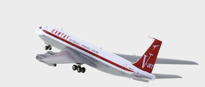 Rear view thumbnail of Inflight200 IF7071JTP - 1/200 scale diecast model of the Boeing 707-138B , registration N707J, owned by John Travolta in the livery of Qantas