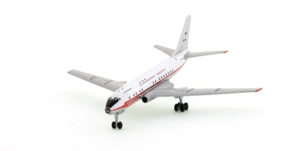 Front port view of Retro Models RETRO4001 - 1/400 scale diecast model of the Tupolev Tu-104A, in the livery of Czechoslovak State Airlines ( CSA)